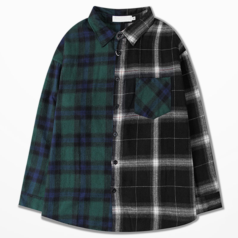 Aolamegs Shirts Men Classic Patchwork Plaid Male Shirts Thin Cotton Full Sleeve Shirt Fashion Casual Slim College Style Autumn (7)