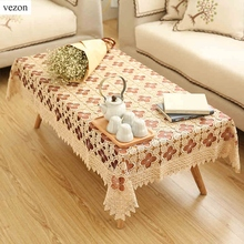vezon New Delicate Quality Rectangle Polyester Embroidery Lace Tablecloth White Embroidered Organza Table Cloth Towel Covers(China)