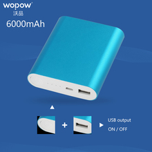 Wopow Portable Power Bank 6000mAh External Battery pack Quick Charge power bank backup battery charger for mobile phone tablet(China)