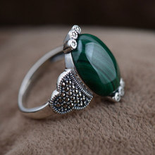 GZ Natural Malachite Ring 925 Sterling Silver anillos Classic 100% S925 Thai Silver Rings for women Jewelry