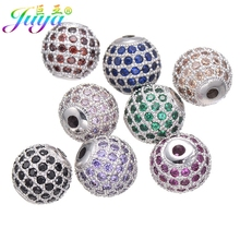 8mm 10mm 12mm 14mm Findings Supplies Birthstone Metal Disco Ball Beads Accessories For Natural Stone Bracelets Necklaces Making(China)