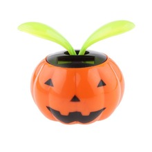 2017 Automobile Decoration Cute Solar Powered Pumpkin Shape Flowerpot Flip Flap Leaf Dancing Car Toys Gifts(China)