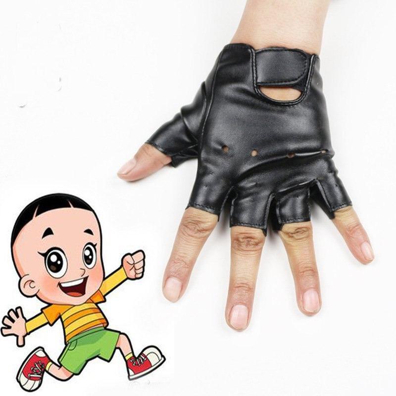 5-13 weeks outdoor childrens leather half-finger gloves PU big boy child sports riding gloves slip<br>