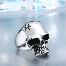 2017 NEW Crack Dead Fang The vampire Skull Ring Factory Price 316L Stainless Titanium Steel Jewelry BR-Q006(China)