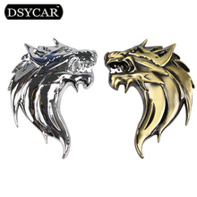DSYCAR 2Pcs/Pair 3D Metal Wolf Head Auto Motorcycle Car Sticker Logo Emblem Decoration Car styling for Fiat Bmw Toyota Lada Audi(China)