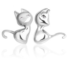 PATICO Cute Cartoon 3D Animal 925 Sterling Silver Cat Stud Earrings for Women Brincos Bijoux Piercing Jewelry(China)