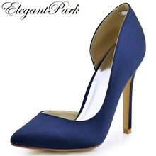 Shoes Woman Navy Blue Ivory Pointed Toe D'orsay High Heel Pumps Satin Bridesmaids Evening Party Wedding Shoes HC1601 Champagne