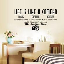 Unique Creative Removable Life Is Like A Camera Quote Wall Stickers Home Decals Home Office Decoration DIY
