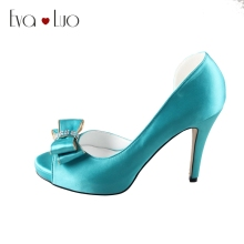 CHS391  DHL Express Custom Handmade Bow Turquoise Silk Satin Dress Pumps Bridal Wedding Shoes Women High Heel Shoes Dress Shoes