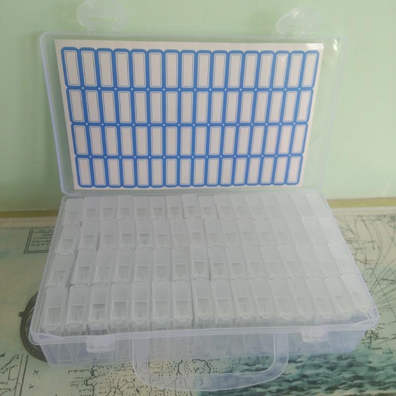 Diamond Painting Tool 64 lattice,transparent plastic storage box,