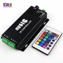 2017 best price DC12-24V 24 Keys music controller IR remote RGB controller Sound Sensitive for 5050 3528 led strip light lamp(China)
