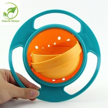 Creative Gyroscope Baby Bowl Non Spill Feeding Toddler Practical Gyro Cereal Bowl 360 Rotating Wheel Kids Avoid Food Spillingx 1(China)