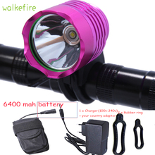 Walkfire Pink 2200 Lumen XML T6 LED Bicycle HeadLight Cycling 6400mAh or 10000mah Battery Pack bicicleta light Accessories()