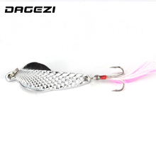 DAGEZI Metal Sequins Fishing Lure Spoon Lure Noise Paillette Hard Baits with Feather Treble Hook Pesca Fishing Tackle