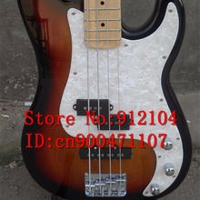 free shipping new Big John 4 strings electric bass guitar in sunburst with mahogany body and maple fingerboard F-324