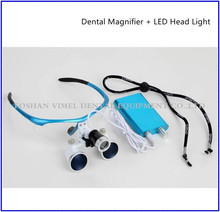 BLUE Dental Loupes Surgical Medical Binocular 3.5X 420mm LED Head Light Lamp CE/FDA