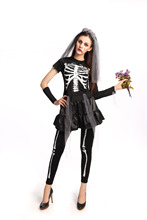 Skeleton Ghost Bride Costume Women's Sexy Black Vampire Zombie Halloween Costume Cosplay Skull Ghost Bride Fancy Dress