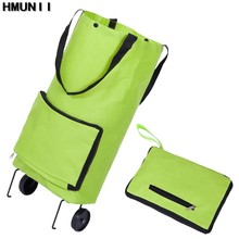 HMUNII Brand Folding Shopping Bag Shopping Trolley Bag on Wheels Bags on Wheels Buy Vegetables Shopping Organizers Portable Bag(China)