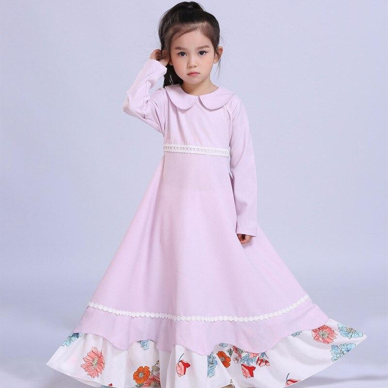 2018 Children Girls Muslim Abaya Islamic Dress Kids Girl Peter Pan Collar Dress New Design Malaysia Kids New Year Dress<br>