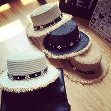2018 Spring Cool Cowboy Style Wide Brim Straw Hats Summer Sun Hats for Women Cute Daisy Flowers Decorated Beach chapeu feminino(China)