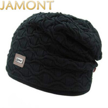 JAMONT Knitted Autumn Winter Beanies Brand Hat Male Bonnet Thick Warm Fleece Lining Stocking Turban Man Hat Cap