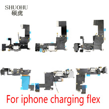 shuohu brand For iPhone 5 5c 5s 6 6s 6plus Charger Charging port Dock USB Connector Data Flex Cable Headphone Jack Flex Ribbon(China)