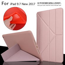 New 2017 For iPad 9.7 A1822 A1823 High Quality Ultra Slim Smart Sleep Deformation TPU Leather Case Cover For iPad 5 / Air + Gift