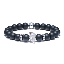 Brand Women Natural Stone Beads Strand Bracelet Micro Pave CZ Conch Black Energy Men Jewelry Bracciali Donna(China)
