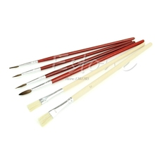 6pcs Two Type Nylon Wooden Painting Drawing Oil Paint Artist Practice Brushes JUN13(China)