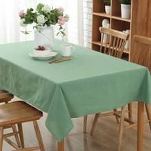 MGHEYUD Classic Solid Color Polyester Cotton Table Cloth Tea Coffee Rectangular Tablecloth Party Dining Table 5 Colors Available