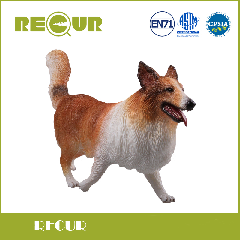 Recur Soft Dog Toys Rough Collie Model High Simulation PVC Toy Hand Painted Animal Soft  Animal Toy Original Design <br>