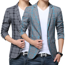 2017 New Spring Fashion Stripe Blazer Men Casual Suit Mens Blazers Slim Fit One Button Men Suit Jacket 5XL Free shipping