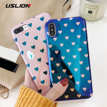 Buy USLION Blu-ray Laser Gradient Case iPhone X 8 Love Heart Phone Cases iPhone 6 6S 7 8 Plus Glossy Soft Silicon Back Cover for $2.39 in AliExpress store