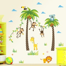 &  Jungle Animals Wall Stickers Kids Rooms Safari Nursery Rooms Baby Home Decor Poster Monkey flowers Elephant Horse Wall Decals