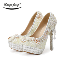 2017 Fashion Women Beaded Wedding shoes Bridal party dress shoes Beige pearl high heels platfomr shoes woman Pumps free(China)
