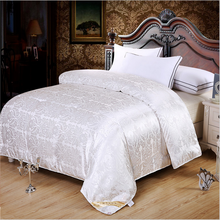 Free Shipping 100% Mulberry Silk Quilt/Blanket Winter&Summer King/Queen Size White Handwork Positioning Comforter/Duvet