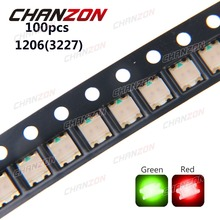 100pcs SMD 1206 (3227) LED Beads Green And Red Bicolor LED Chip 2V Light Emitting Diode Lamp SMT Surface Mounted Device for PCB