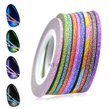 12pcs 2mm Colorful Glitter Nail Art Decorations Striping Line 3d Sticker Silver DIY Manicure Tools Set TRNC393