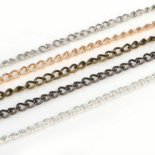 Iron 5m Rhodium/Silver/Gold/Gunmetal/Antique Bronze Plated Chains Jewelry Findings for DIY Chain Necklace Bracelet Crafts Made