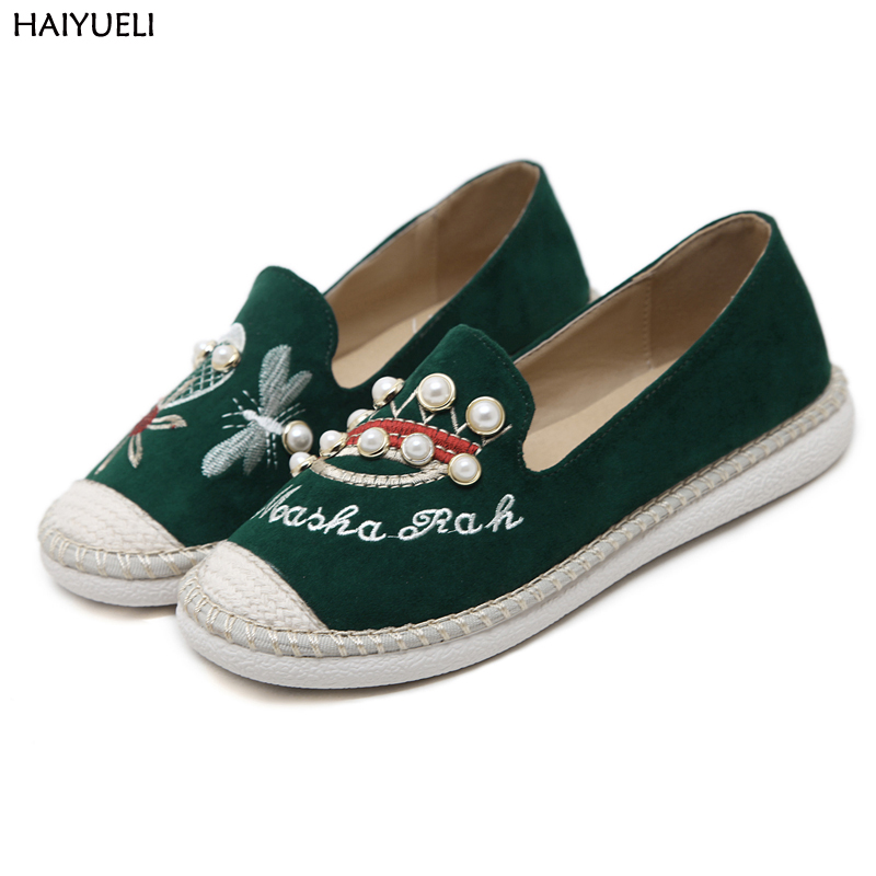 HAIYUELI womens shoes pearl Flowers sweet womens flat shoes fashion bee embroidered casual loafers women Non-slip shoes<br>
