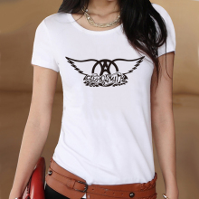 Rock Music Aerosmith Logo Summer White Slim Style Graphic Print T shirt Women Tshirt Swag Clothes Tee Top Gift Student Tees