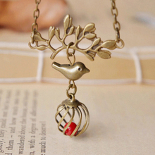 Antique Bronze Alloy Bird Tree Branch Ball Shaped Bird Cage with Red Coral Necklace Kawaii Children Christmas Jewelry nxl034