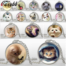 Mix Lovely Cat Necklace Pet Jewelry silver Plated glass pendants Trendy Animal Pendant Necklace Art picture necklaces bijouterie