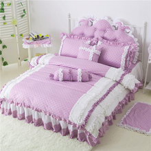 patented product wedding bedding set bed skirt lace Macaroon style duvet cover king queen full size 8pcs birthday gift PURPLE