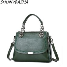 Shunvbasha women bags designer quality leather black/green/red/gray/rubber powder/wine red shoulder bag handbag at night luxury