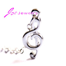 Music Note Pendant Necklace Silver Plated Handmade Fashion Jewelry for Women Wholesale Store Thanksgiving gifts(China)