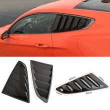 For Ford Mustang 15-17 CV Style Car Rear Side Quarter Window Louvers Scoops Bright Black 3D Sticker CY962-CN(China)