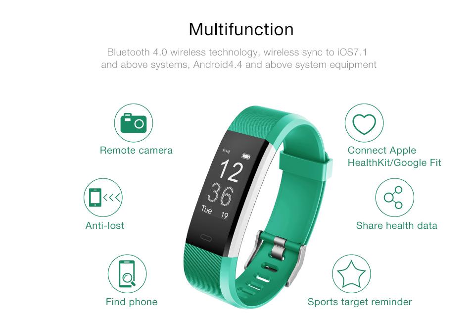 Hot Smart Wristband ID115 Plus Smart Band pedometer Fitness Bracelet Activity Tracker Mp3 Smart Bracelet Pk fitbit PK mi band 2 5