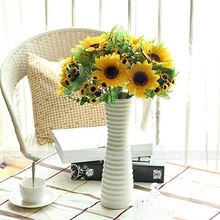 2016 Hot Sale Beautiful Decorative Flowers 7 Heads Fake Sunflower Artificial Silk Flower Bouquet Home Wedding Floral Decor 764H