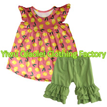 Bulk Wholesale Boutique Clothes Fruit lemon design clothes Children's Boutique Clothing